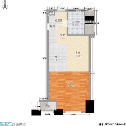 江阴万达广场1卫0厨54.00㎡户型图