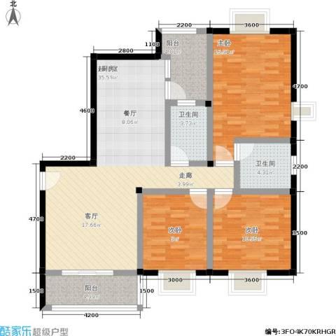 水岸新城3室0厅2卫0厨116.00㎡户型图