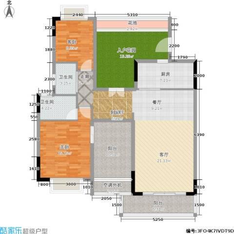 鼎湖森邻3期2室1厅2卫1厨130.00㎡户型图