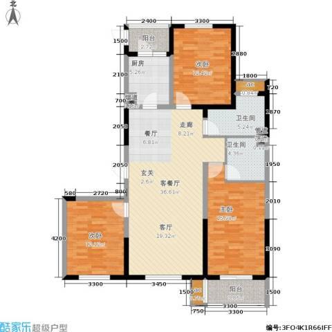 上城上林苑3室1厅2卫1厨144.00㎡户型图