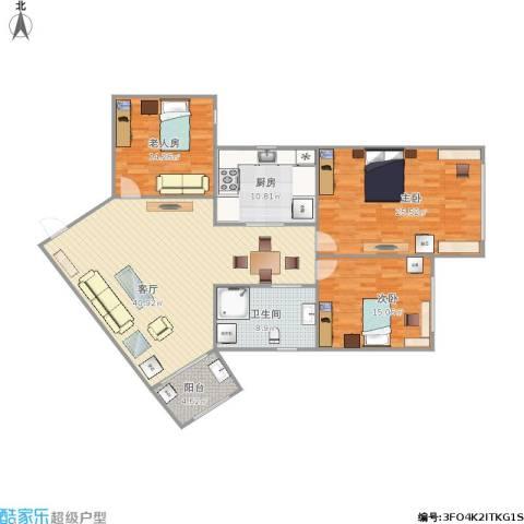 博山公寓3室1厅1卫1厨159.00㎡户型图
