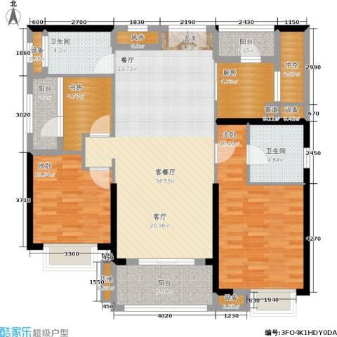招商・卡达凯斯3室1厅2卫1厨121.00㎡户型图