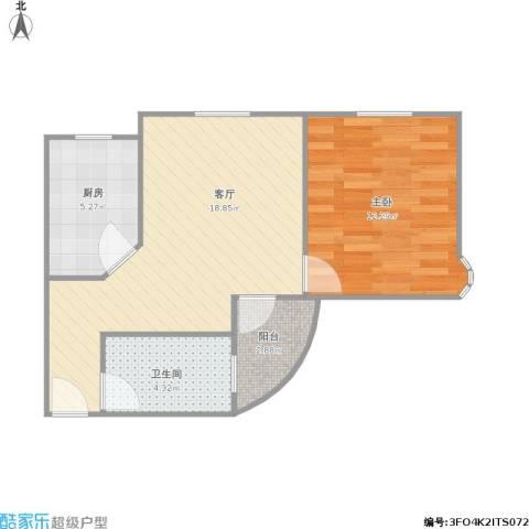 262643美韵公寓1室1厅1卫1厨58.00㎡户型图