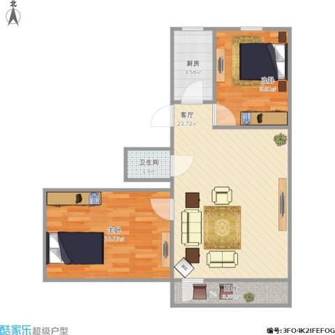 华威西里2室1厅1卫1厨75.00㎡户型图