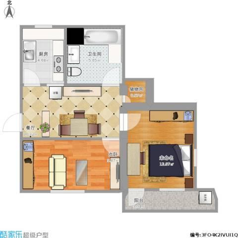 梅园高层1室1厅1卫1厨51.66㎡户型图
