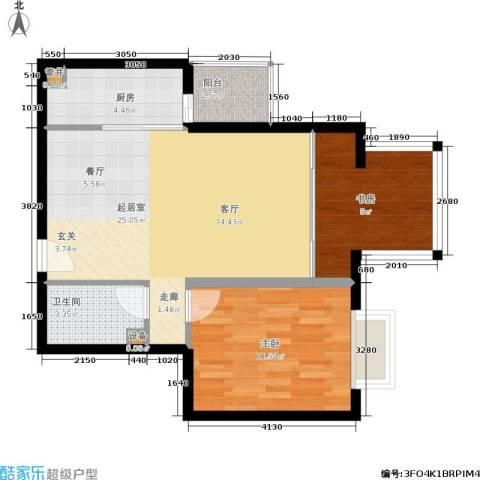 亚太世纪花园2室0厅1卫1厨63.29㎡户型图