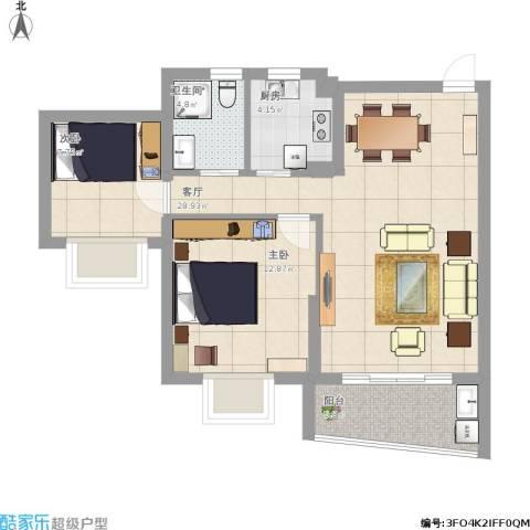 金桥水岸花园2室1厅1卫1厨73.65㎡户型图