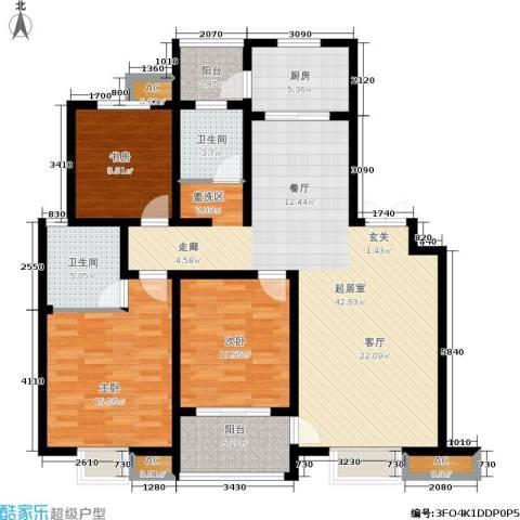 和谐景苑3室0厅2卫1厨128.00㎡户型图