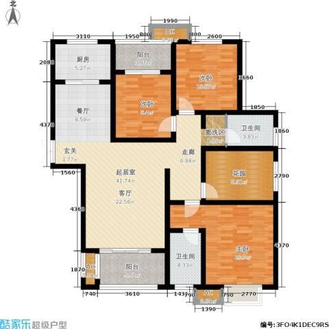 和谐景苑3室0厅2卫1厨133.00㎡户型图