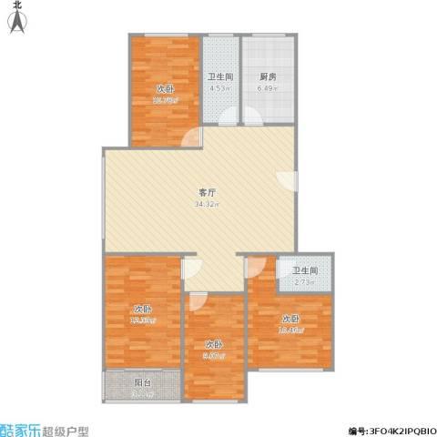 漫城名苑4室1厅2卫1厨126.00㎡户型图