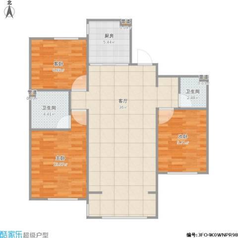枫丹白露3室1厅2卫1厨108.00㎡户型图