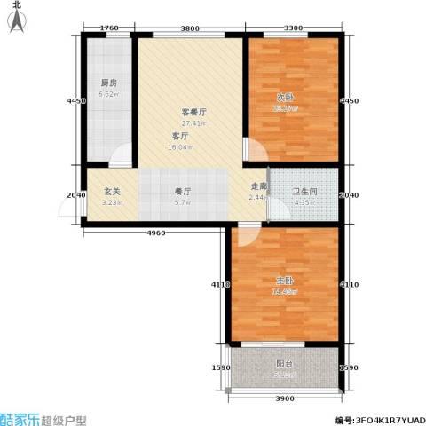 翡翠华庭2室1厅1卫1厨100.00㎡户型图