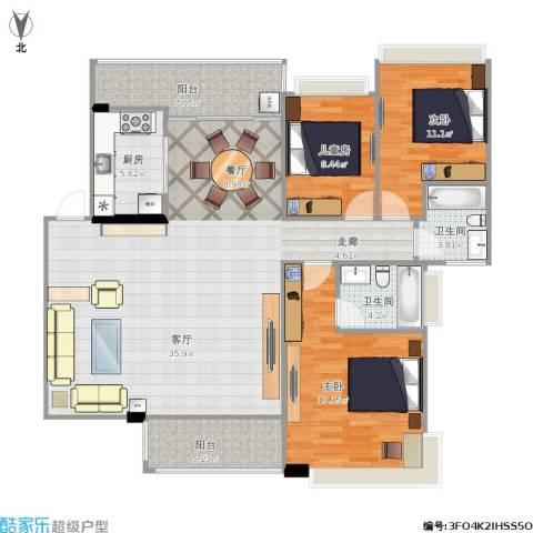 新世纪花园3室1厅2卫1厨150.00㎡户型图