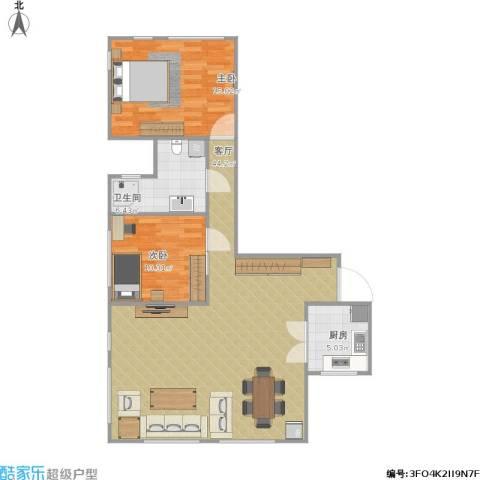 艺术家公寓2室1厅1卫1厨108.00㎡户型图