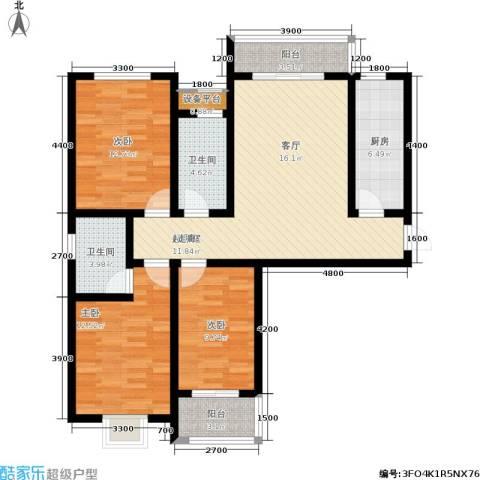 东龙府邸3室0厅2卫1厨126.00㎡户型图