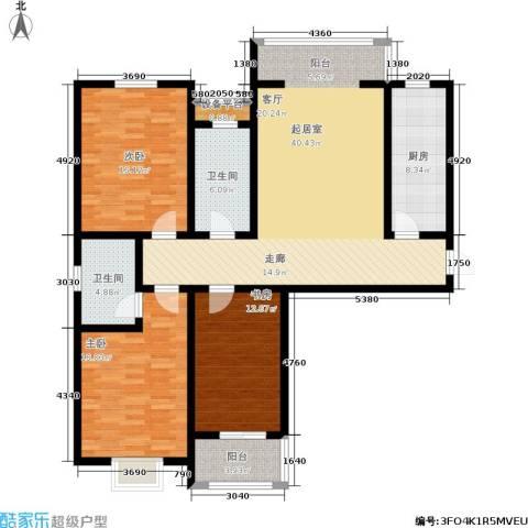 东龙府邸3室0厅2卫1厨157.00㎡户型图