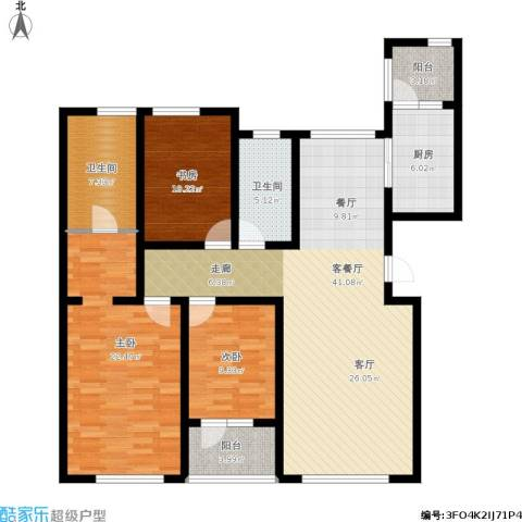 恒瑞大湖山语3室1厅2卫1厨156.00㎡户型图