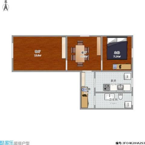新中西里1室2厅1卫1厨56.00㎡户型图