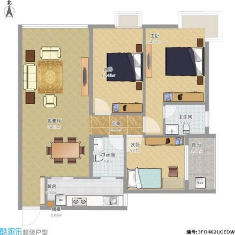荣和苑3室1厅2卫1厨121.00㎡户型图