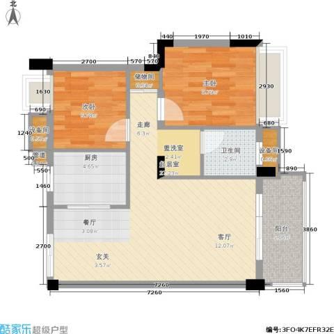 水墨林溪2室0厅1卫1厨65.78㎡户型图