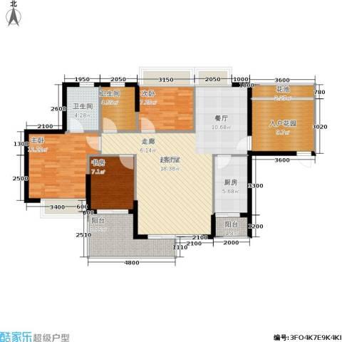 翠堤尚园3室0厅2卫1厨121.00㎡户型图