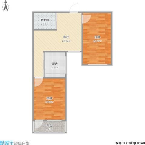 虎丘路小区2室1厅1卫1厨64.00㎡户型图