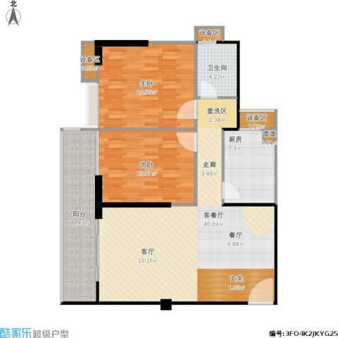 禹洲大学城2室1厅1卫1厨130.00㎡户型图