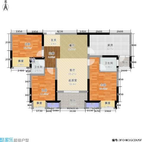 美的城3室0厅2卫1厨126.00㎡户型图