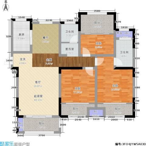 嘉乐城3室0厅2卫1厨124.00㎡户型图