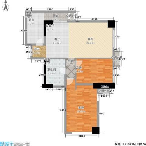 剑桥春雨2室1厅1卫1厨116.00㎡户型图