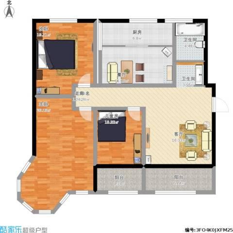 蓝钻庄园3室1厅1卫1厨167.00㎡户型图