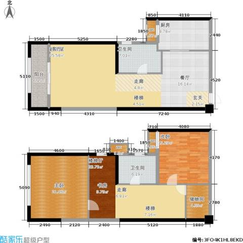 上东曼哈顿2室0厅2卫1厨145.00㎡户型图