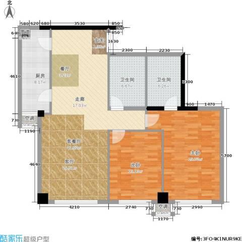 剑桥春雨2室1厅2卫1厨124.00㎡户型图