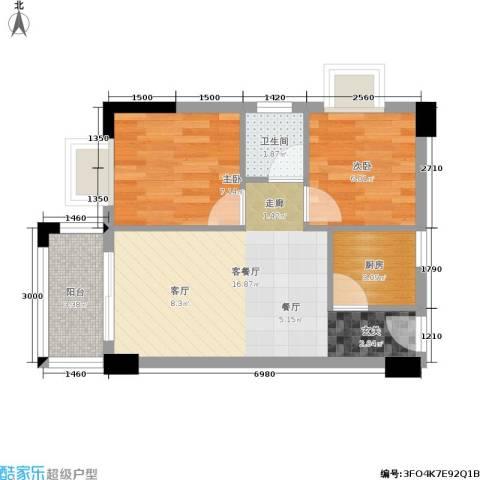 水木年华2室1厅1卫1厨56.00㎡户型图