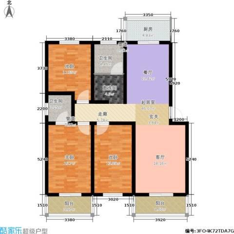 九龙苑3室0厅2卫1厨131.00㎡户型图