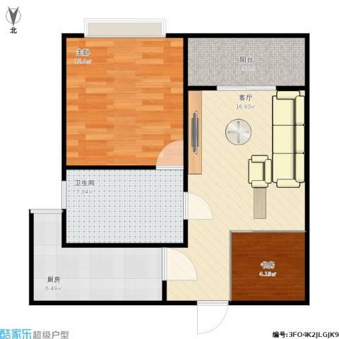 江南星城2室1厅1卫1厨70.00㎡户型图