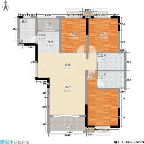 富地中心3室0厅2卫1厨145.00㎡户型图