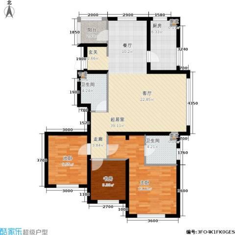 奥园国际城3室0厅2卫1厨130.00㎡户型图