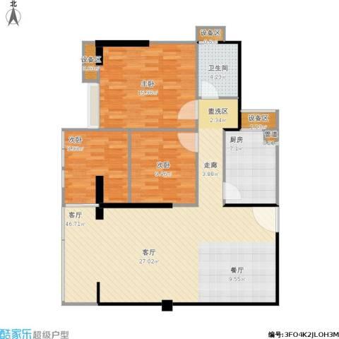 禹洲大学城3室1厅1卫1厨130.00㎡户型图