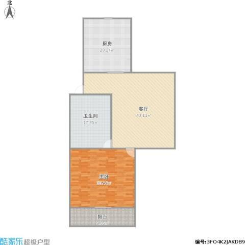 牡丹公寓1室1厅1卫1厨158.00㎡户型图