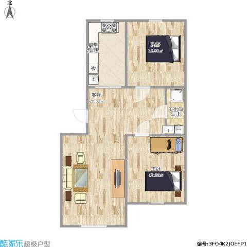 叠翠骏景2室1厅1卫1厨86.00㎡户型图