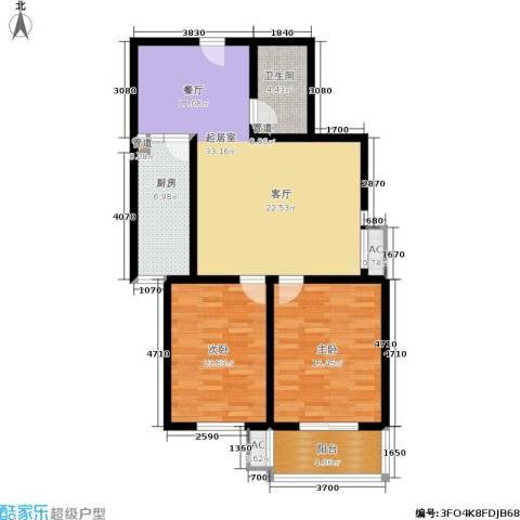 卓昱北苑2室0厅1卫1厨97.00㎡户型图