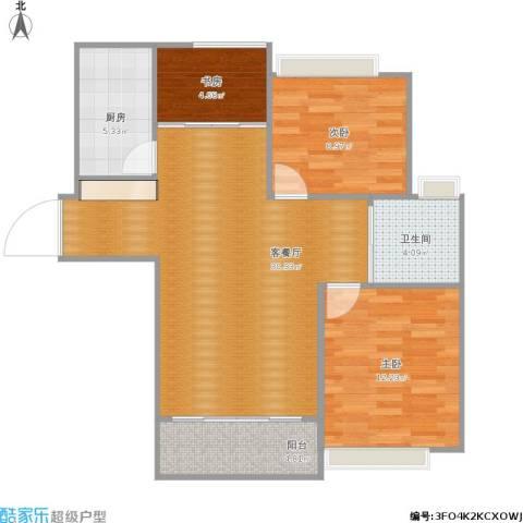 太阳星辰花园三区3室1厅1卫1厨95.00㎡户型图