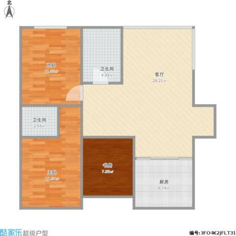 万达江畔人家3室1厅2卫1厨97.00㎡户型图