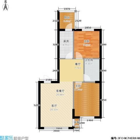 东升御景苑二期2室1厅1卫1厨82.00㎡户型图