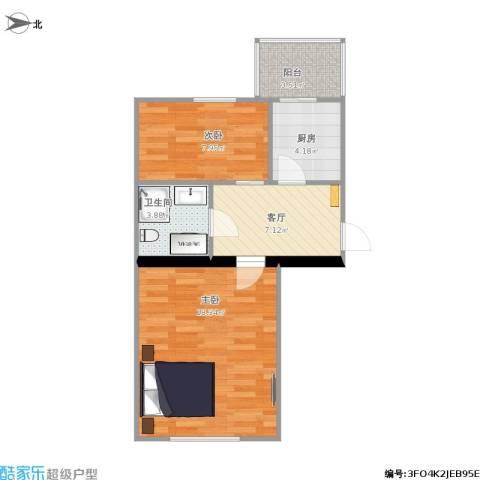 和谐家园2室1厅1卫1厨62.00㎡户型图