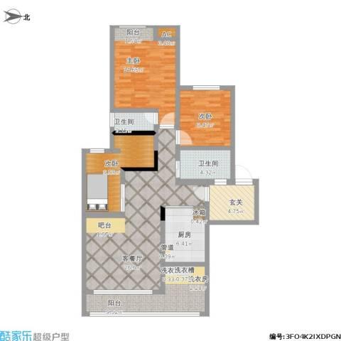 光宇维多利亚3室1厅2卫1厨128.00㎡户型图