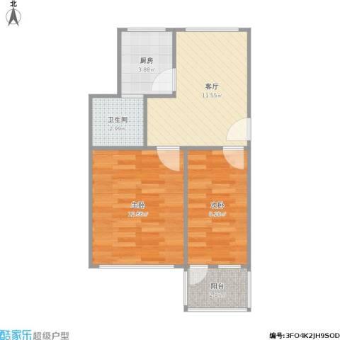 西康路2室1厅1卫1厨58.00㎡户型图