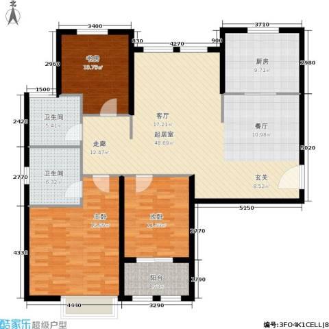 稽山御府天城3室0厅2卫1厨162.00㎡户型图