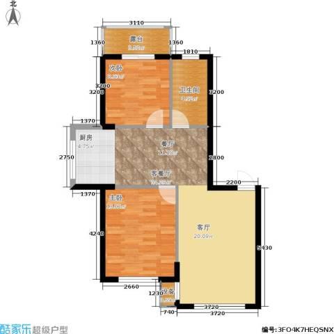 东升御景苑二期2室1厅1卫0厨91.00㎡户型图